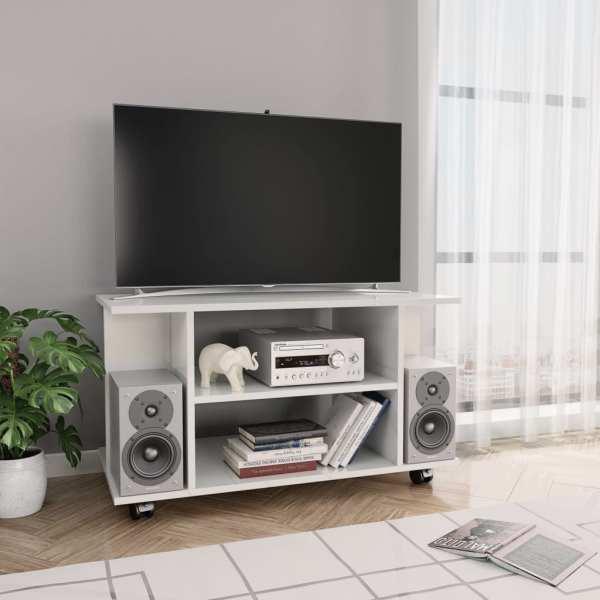 vidaXL Comodă TV cu rotile, alb foarte lucios, 80 x 40 x 40 cm, PAL