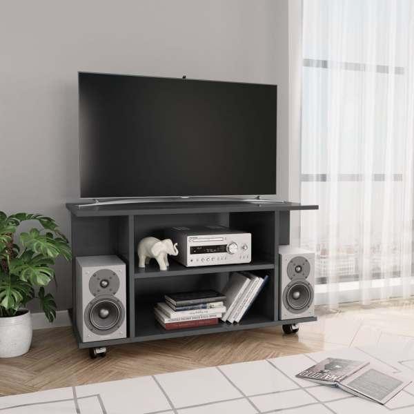 vidaXL Comodă TV cu rotile, gri foarte lucios, 80 x 40 x 40 cm, PAL