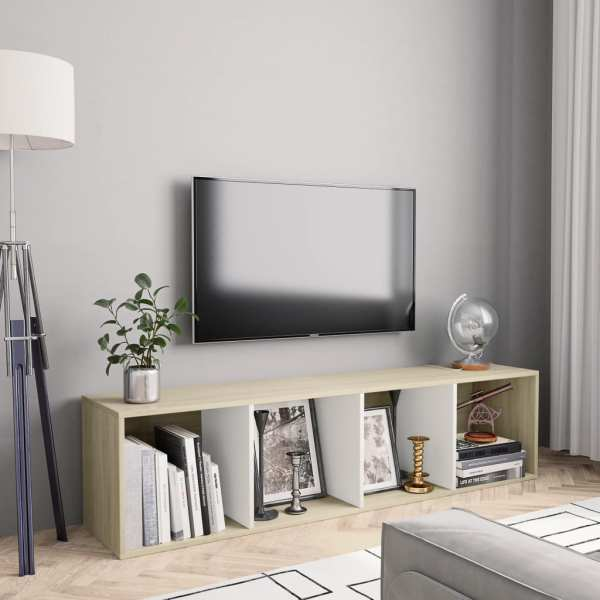 vidaXL Bibliotecă/Comodă TV, alb & stejar Sonoma, 143 x 30 x 36 cm
