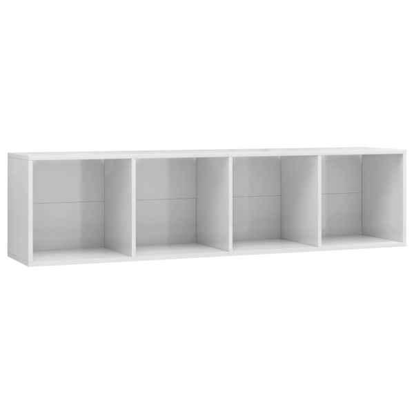 Bibliotecă/Comodă TV, alb extralucios, 143 x 30 x 36 cm