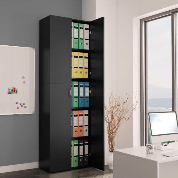 vidaXL Dulap de birou, negru, 60x32x190 cm, PAL