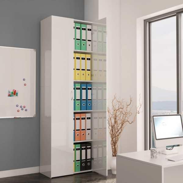 vidaXL Dulap de birou, alb extralucios, 60x32x190 cm, PAL