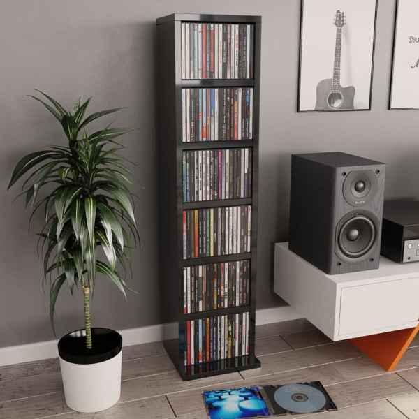 vidaXL Dulap CD-uri, gri extralucios, 21 x 20 x 88 cm, PAL