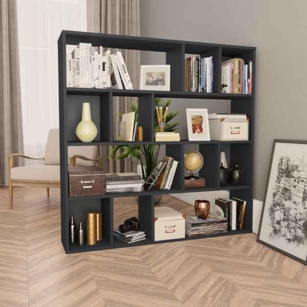 vidaXL Bibliotecă/Separator cameră negru extralucios 110x24x110 cm PAL