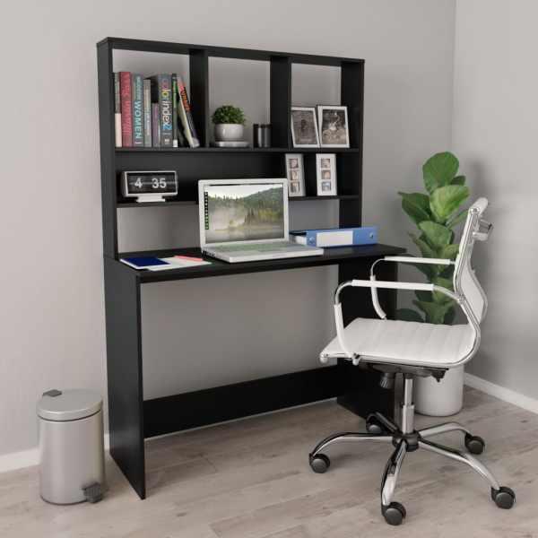 vidaXL Birou cu rafturi, negru, 110 x 45 x 157 cm, PAL