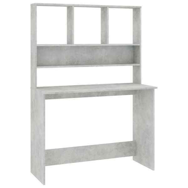 vidaXL Birou cu rafturi, gri beton, 110x45x157 cm, PAL