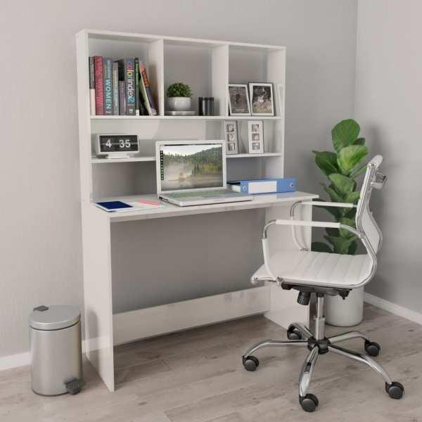 vidaXL Birou cu rafturi, alb foarte lucios, 110 x 45 x 157 cm, PAL