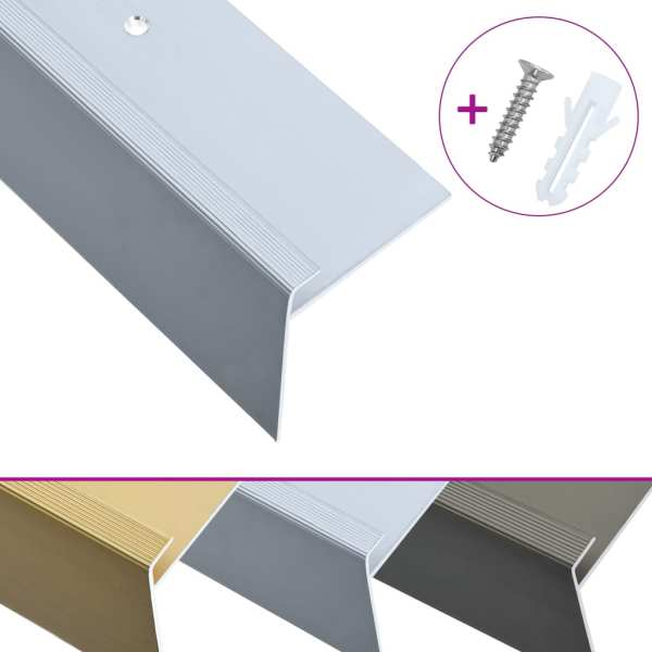 vidaXL Profile trepte formă de F, 15 buc., argintiu, 90 cm, aluminiu