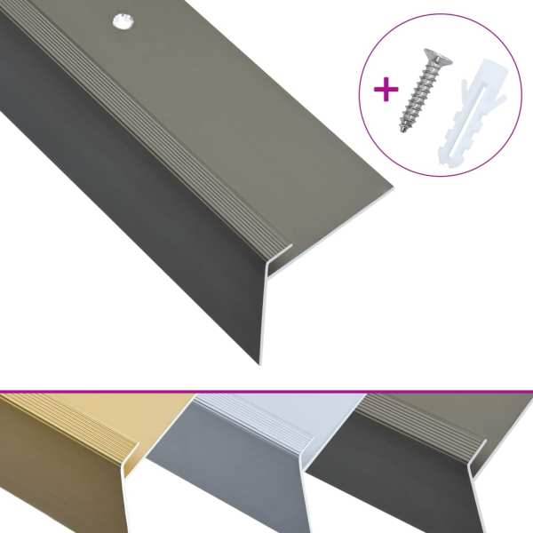 Profile trepte în formă de F, 15 buc., maro, 134 cm, aluminiu