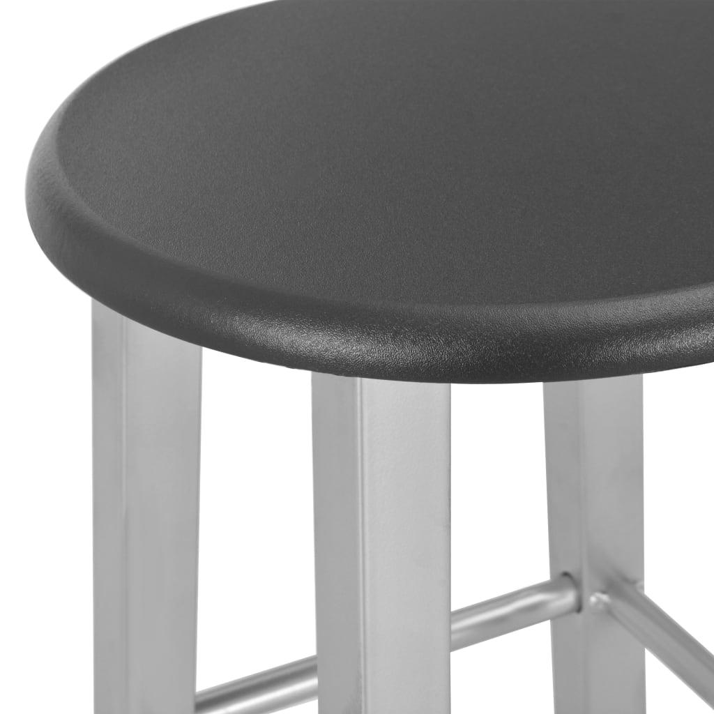 vidaXL Set mobilier de bar, 3 piese, negru, lemn și oțel