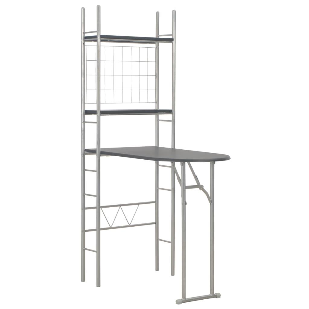 Set mobilier bucătărie cu depozitare 3 piese negru, MDF și oțel