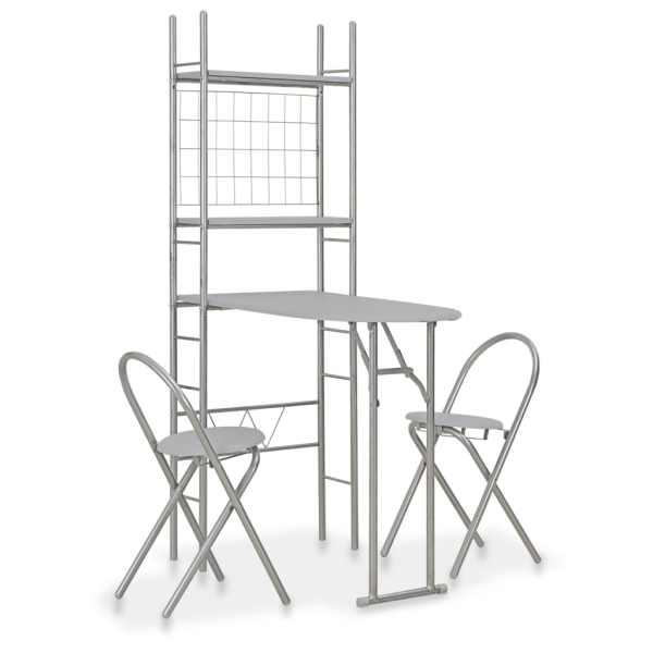vidaXL Set mobilier bucătărie cu depozitare, 3 piese, gri, MDF și oțel