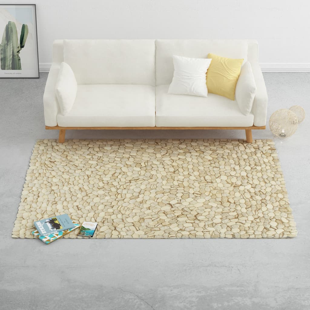 vidaXL Covor lână, bej/gri/maro/ ciocolată, 140×200 cm, pietre fetru