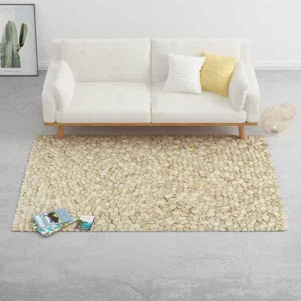 vidaXL Covor, bej/gri/maro/ ciocolată, 160×230 cm, pietre fetru lână