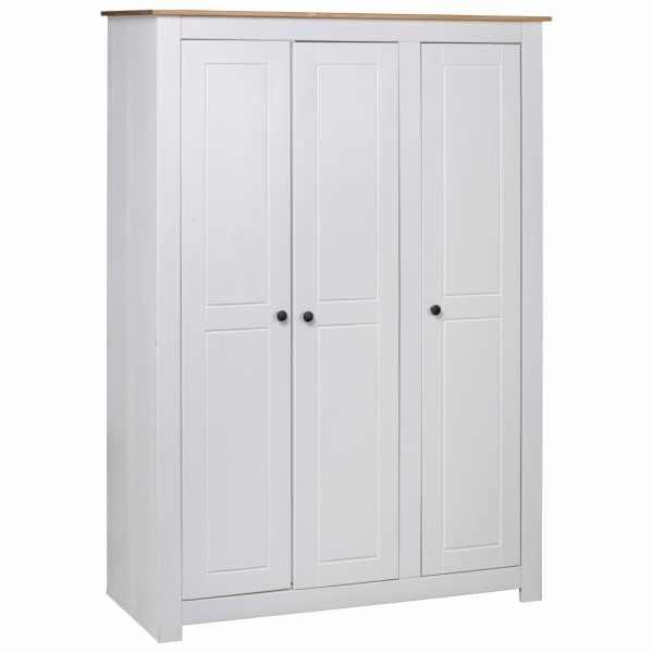 vidaXL Șifonier cu 3 uși, alb, 118 x 50 x 171,5 cm, pin gama Panama