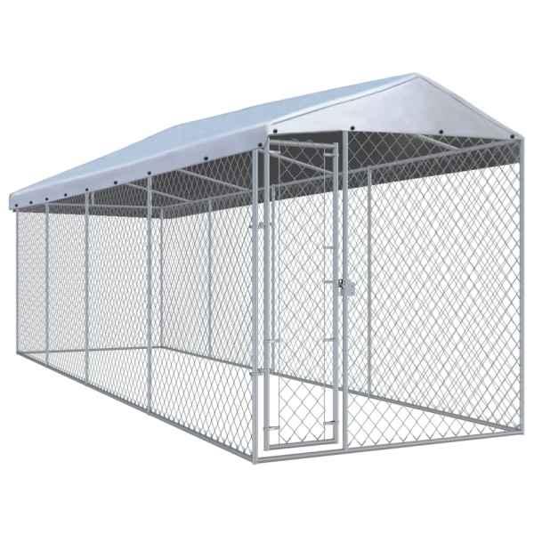 vidaXL Padoc pentru câini de exterior, cu acoperiș 760x190x225 cm