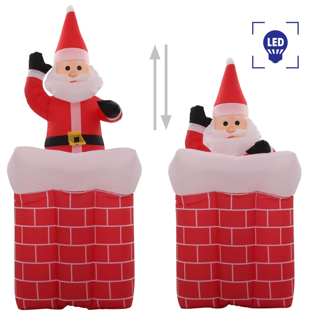 vidaXL Moș Crăciun în horn, mișcare automată, LED, IP44, 180 cm