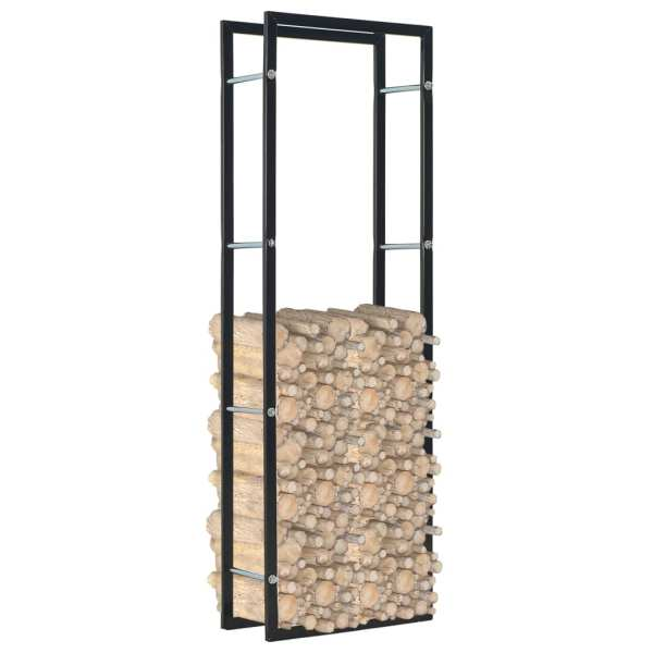 Rastel pentru lemne de foc, negru, 50x20x150 cm, oțel