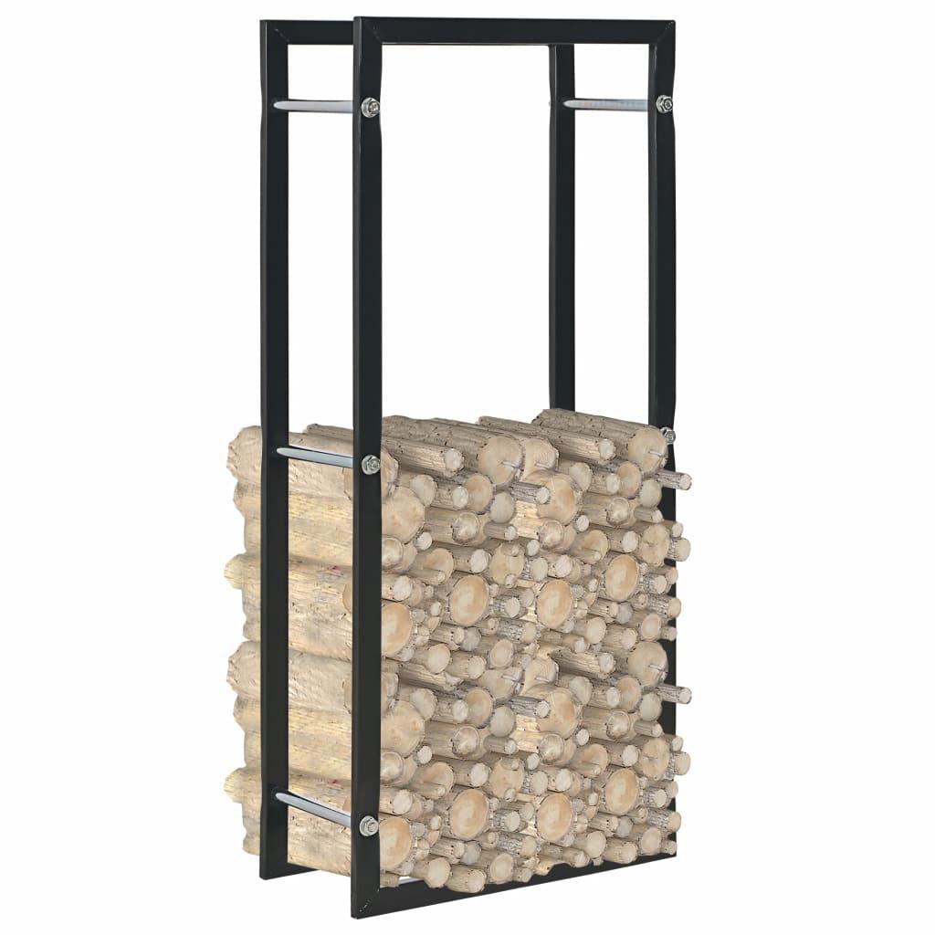 Rastel pentru lemne de foc, negru, 44x20x100 cm, oțel