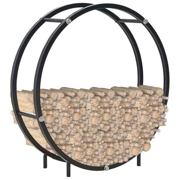 Rastel pentru lemne de foc, negru, 70x20x70 cm, oțel