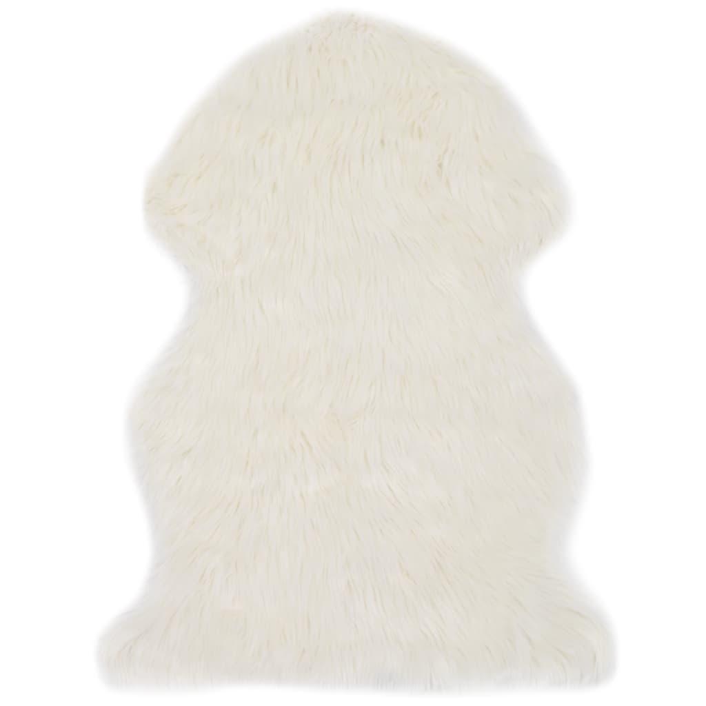 vidaXL Covor, alb, 60 x 90 cm, imitație de blană de oaie