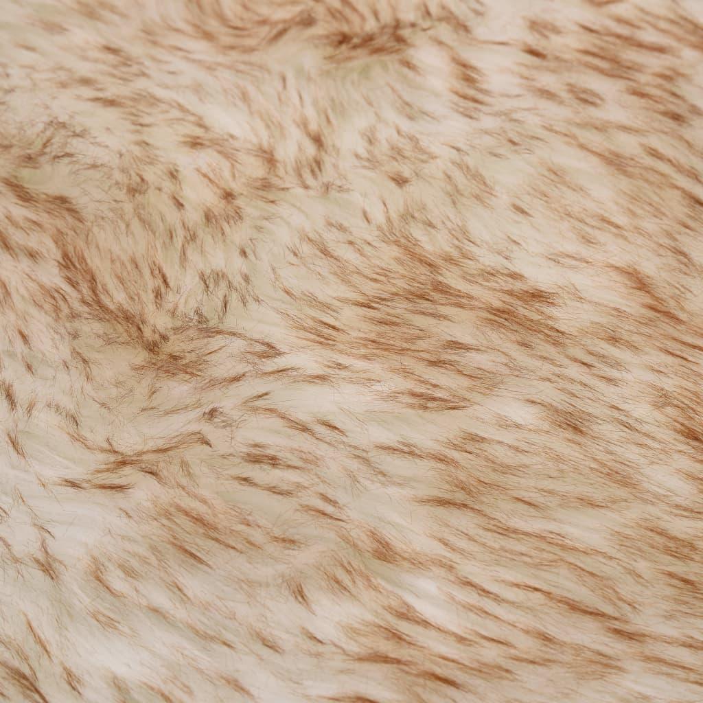 Covor, maro melanj, 60 x 90 cm, imitație blană de oaie