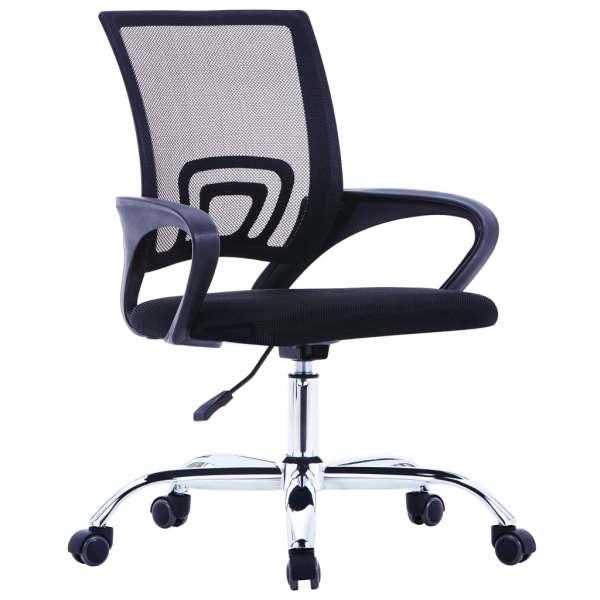 vidaXL Scaun birou cu spătar din plasă, negru, material textil