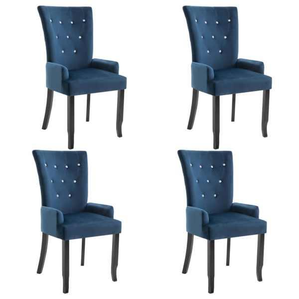 Scaun de bucătărie cu brațe, 4 buc., albastru închis, catifea