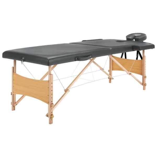 vidaXL Masă de masaj cu 2 zone, cadru din lemn, antracit, 186 x 68 cm