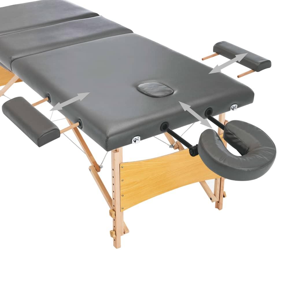 vidaXL Masă de masaj cu 3 zone, cadru din lemn, antracit, 186 x 68 cm
