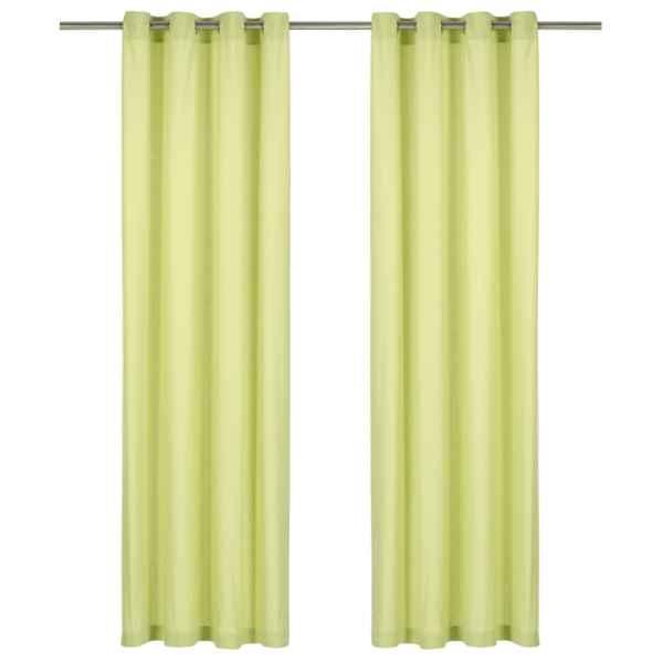 vidaXL Perdele cu inele metalice, 2 buc., verde, 140 x 245 cm, bumbac