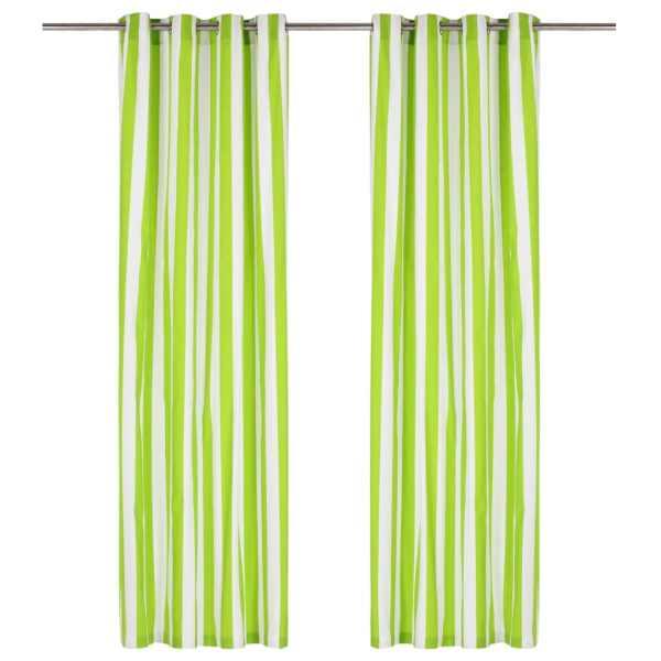 vidaXL Perdele cu inele metalice 2 buc. verde 140x175cm țesătură dungi