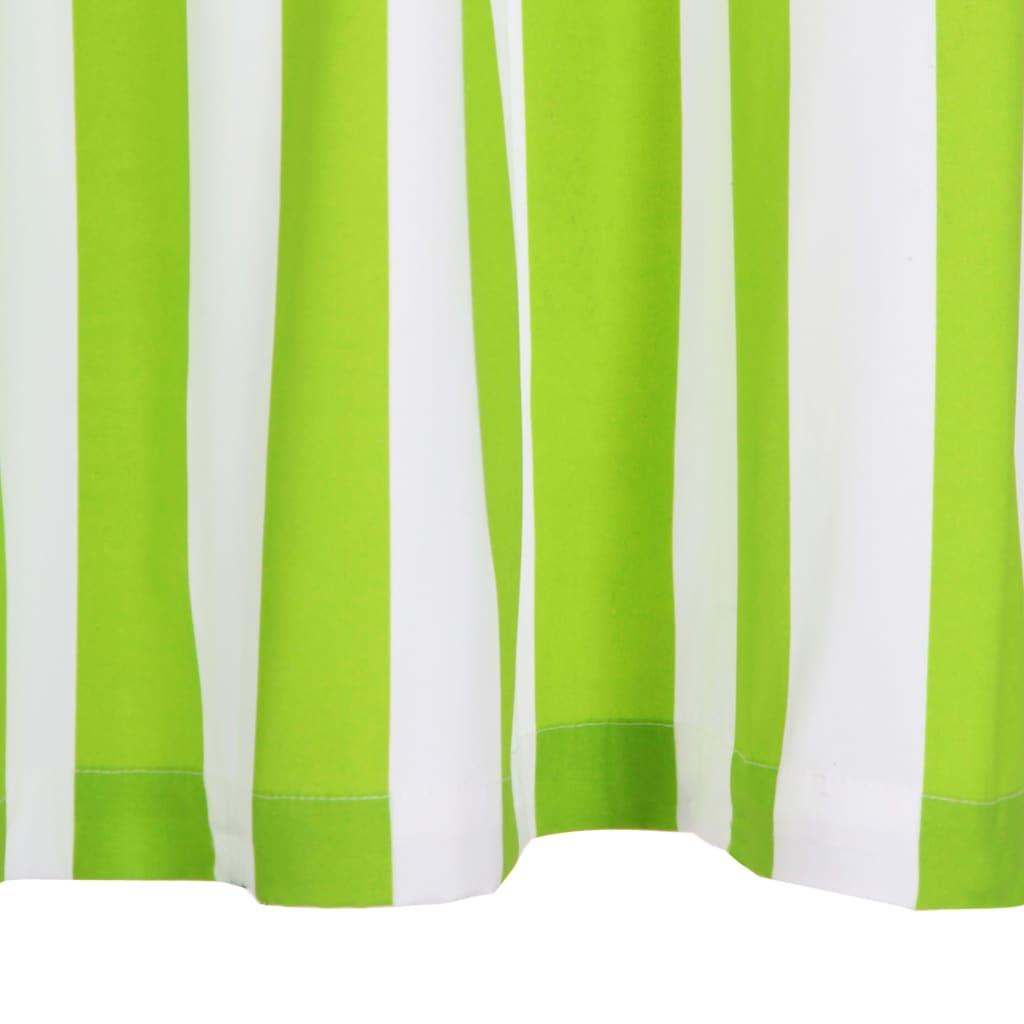 Perdele cu inele metalice 2 buc. verde 140x175cm țesătură dungi