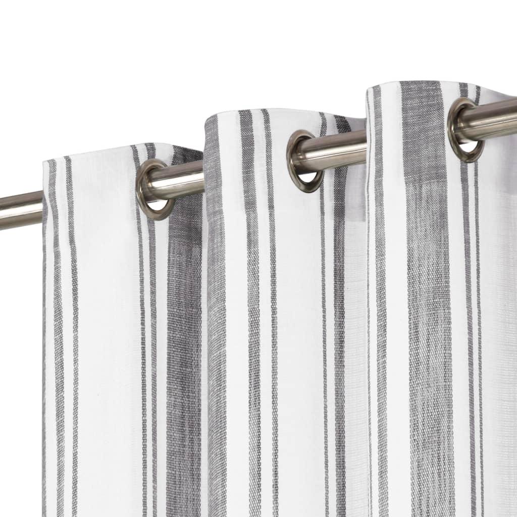 vidaXL Perdele inele metalice 2 buc. antracit 140x225cm bumbac dungi