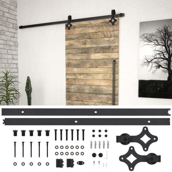 vidaXL Set feronerie pentru uși glisante, negru, 200 cm, oțel