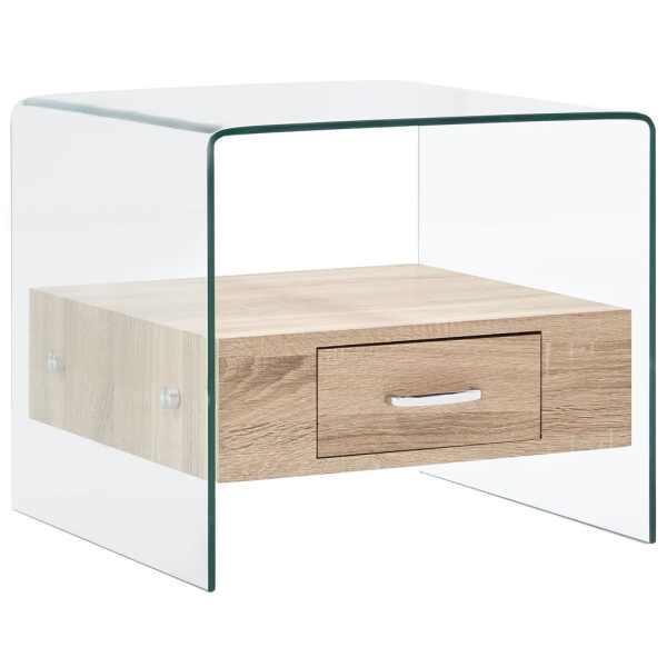 vidaXL Măsuță de cafea cu sertar, 50 x 50 x 45 cm, sticlă securizată