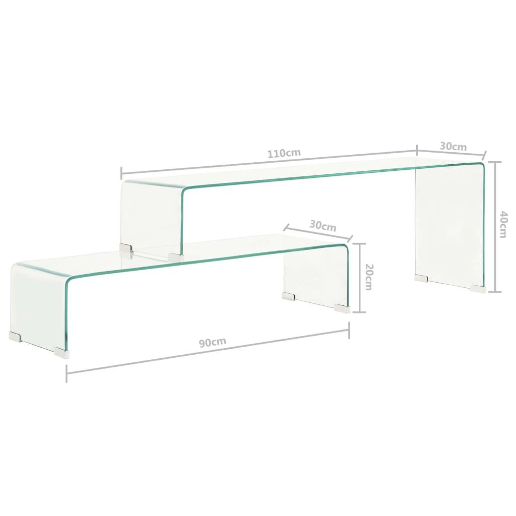 Set măsuțe de cafea, 2 piese, 90x30x20/110x30x40 cm, sticlă