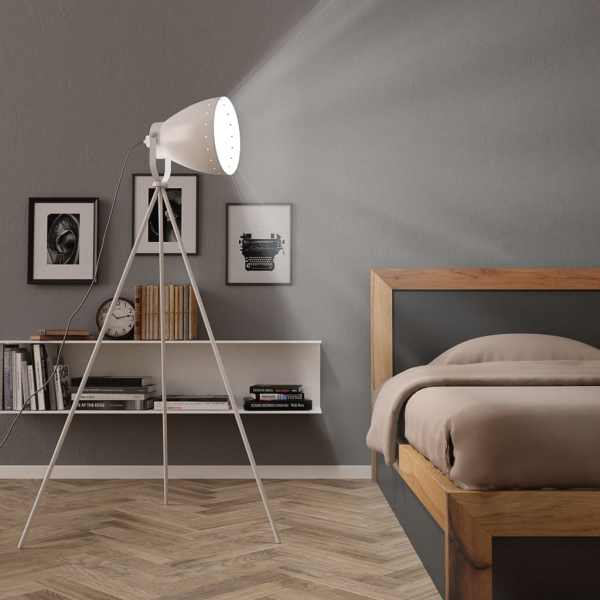 vidaXL Lampă trepied de podea, alb, metal, E27