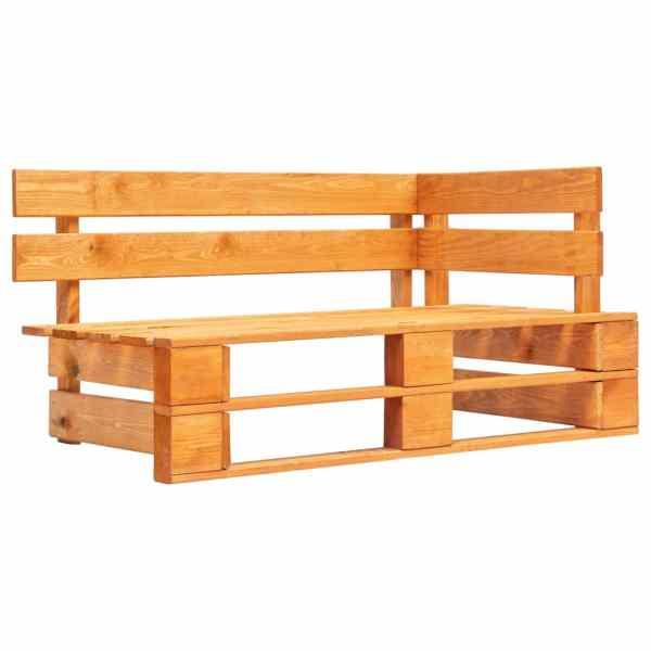 vidaXL Bancă de colț din paleți de grădină, maro miere, lemn