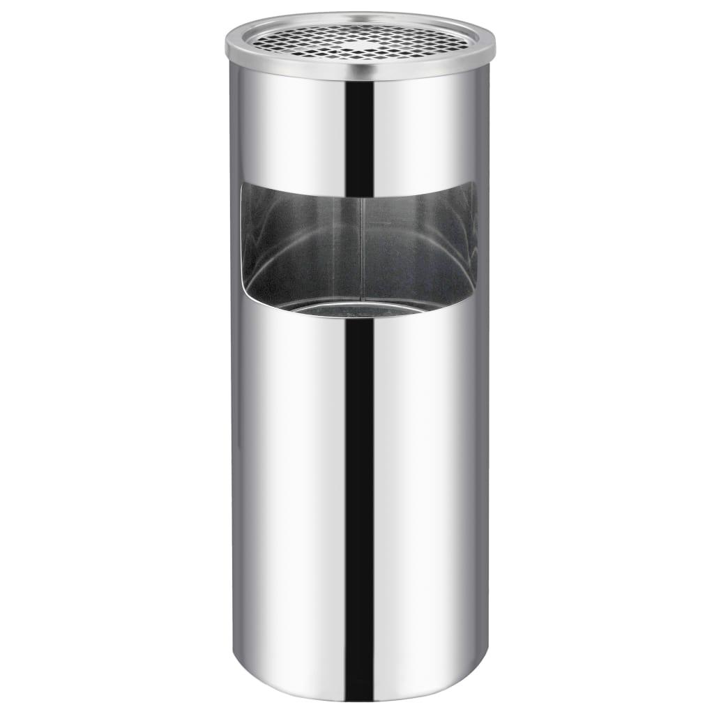 Coș de gunoi cu scrumieră, pentru hotel, oțel inoxidabil, 30 L