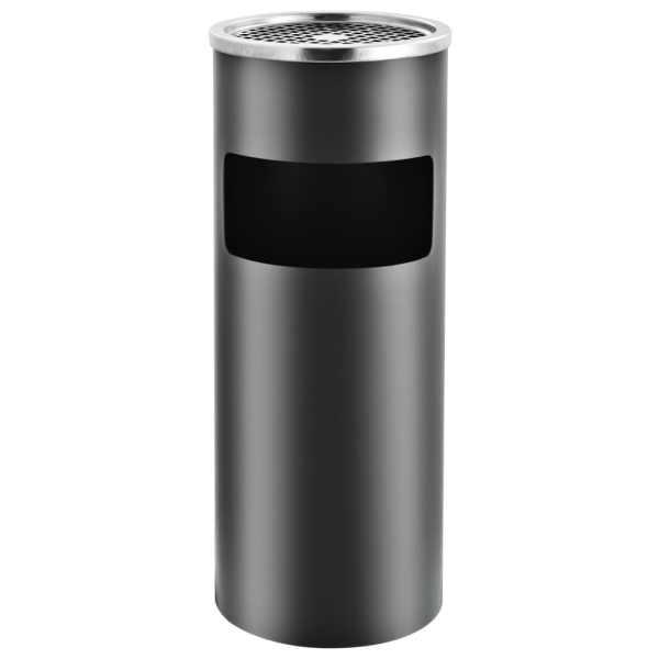 Coș de gunoi cu scrumieră, pentru hotel, gri, oțel, 30 L