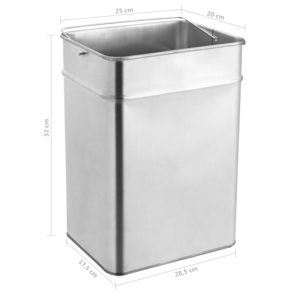 Coș de gunoi cu scrumieră, pentru hotel, oțel inoxidabil, 45 L