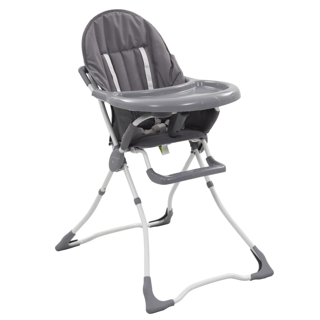 vidaXL Scaun de masă înalt pentru copii, gri și alb