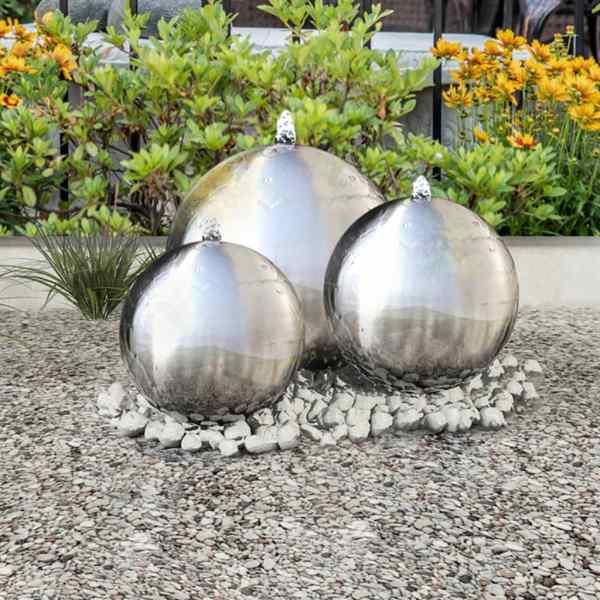 vidaXL Fântâni sferice de grădină cu LED-uri, 3 piese, oțel inoxidabil