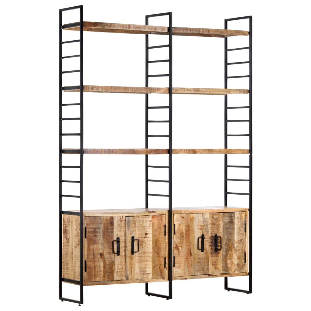 Bibliotecă cu 4 rafturi, 124x30x180 cm, lemn de mango nefinisat