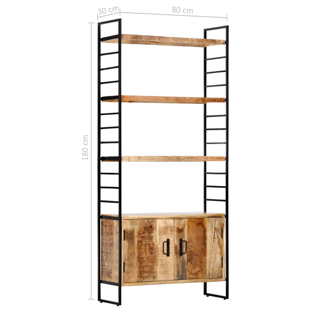 Bibliotecă cu 4 rafturi 80x30x180 cm lemn masiv mango nefinisat