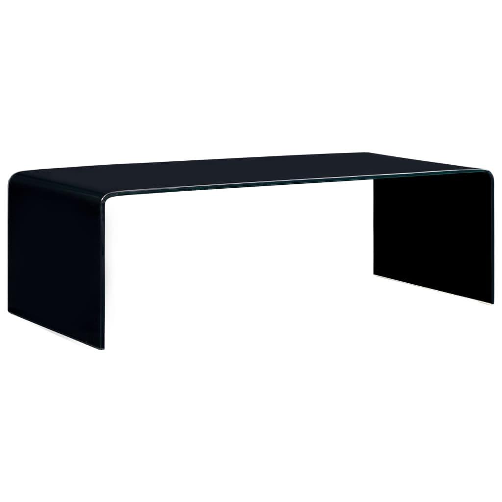 vidaXL Măsuță de cafea, negru, 98 x 45 x 31 cm, sticlă securizată