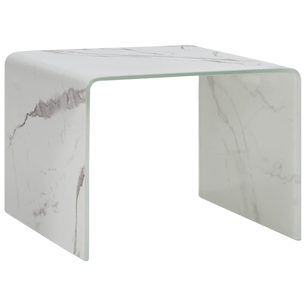 vidaXL Măsuță de cafea, marmură albă, 50x50x45 cm, sticlă securizată