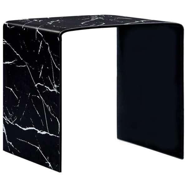 vidaXL Măsuță de cafea, marmură neagră, 50x50x45 cm, sticlă securizată