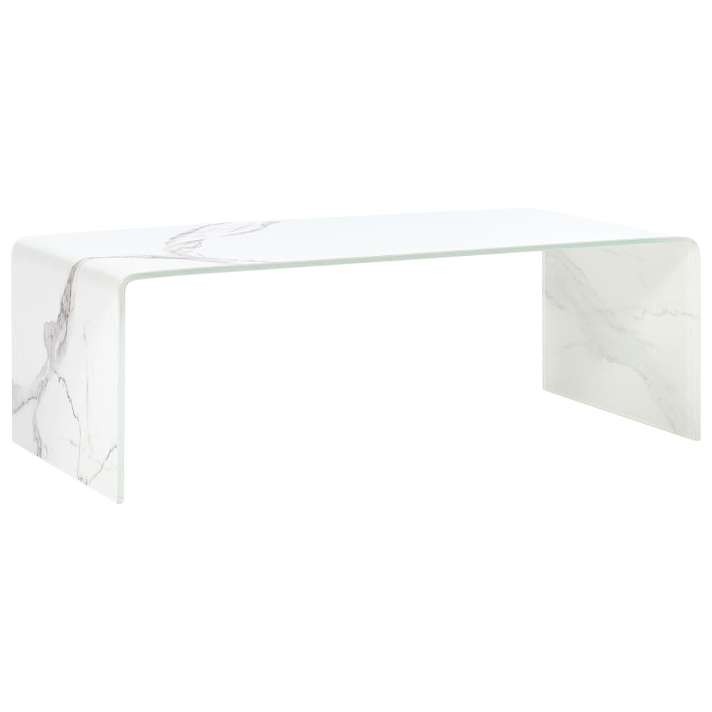 vidaXL Măsuță de cafea, marmură albă, 98x45x31 cm, sticlă securizată
